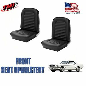 1964 1965 Mustang Front Bucket Seat Upholstery Black Vinyl By Tmi in Stock