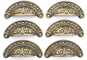 6 Antique Vtg Style Victorian Brass Apothecary Bin Pulls Handles 3 7 16 W A5