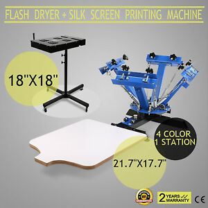 4 Color 1 Station Silk Screen Printing Machine 18 X 18 Flash Dryer Drying Hq