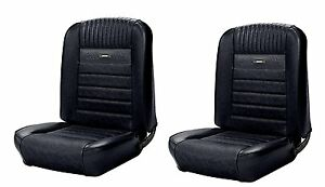 1964 1966 Mustang Front Bucket Seat Deluxe Pony Upholstery Black In Stock