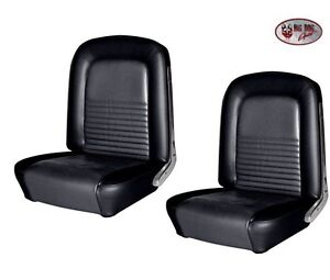 1967 Mustang Front Bucket Seat Upholstery Pair Black Made By Tmi In Stock
