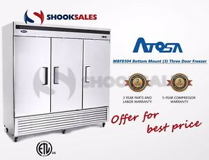 Shooksales New Jersey Atosa Mbf8504 3 Door Stainless Freezer Fast Free Shipping