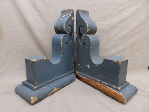 Antique Pair Wood Corbels Brackets Victorian Gingerbread Shabby Old Chic 95 17r