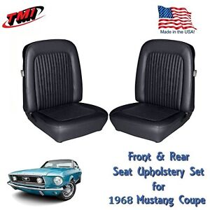 1968 Mustang Front Rear Seat Upholstery Black Made By Tmi In Stock