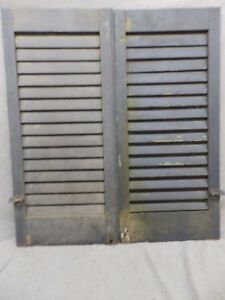 Antique Pair Window Wood Louvered Shutter Shabby Old Chic Vtg 34x15 107 17r