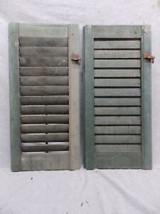Two Antique Window Wood Louvered Shutter Shabby Old Chic Vtg 26x12 110 17r
