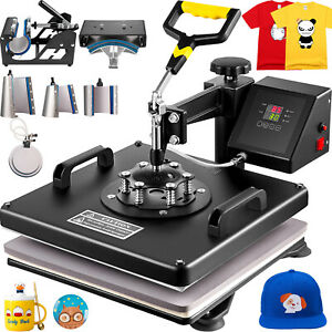 8in1 Combo T shirt Heat Press Transfer 15 x15 Cap Diy Printer Swing Away Great
