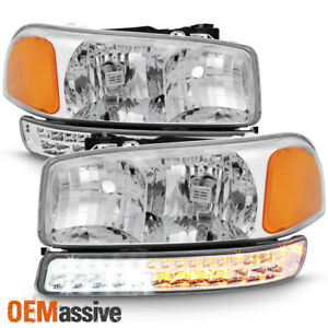 Fit 1999 2006 Gmc Sierra Yukon Xl Clear Headlights Led Bumper Signal Lights Lamp