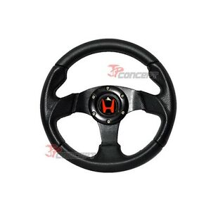 For 93 97 Honda Del Sol Jdm 280mm 6 Hole Bolt Black Pvc Steering Wheel