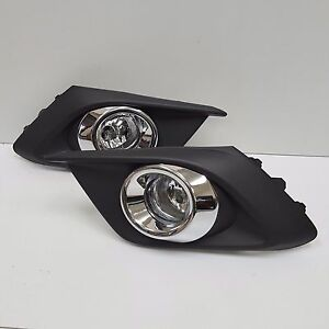 Clear Lens Fog Driving Light Set For 2014 2016 Mazda 3 W bezel Wires Switch Pair