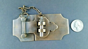 Unique Vintage Cabin Cabinet Door Latch Hook Solid Brass Hasp Lock Gate 4 X2
