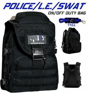 Warriors Bleed Blue Police Tactical Backpack On off Duty Bag Free Key Chain