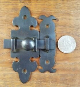 Ornate Antique Type Brass Door Slide Latch Lock Bolt Barn Gate Cabinet 4 X7