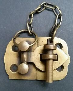 Unique Vintage Style Cabinet Door Latch Solid Brass Hasp Pin Lock 1 3 4 X4