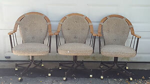 3 Vintage Mid Century Douglas Furniture Oak Metal Swivel Caster Dining Chair