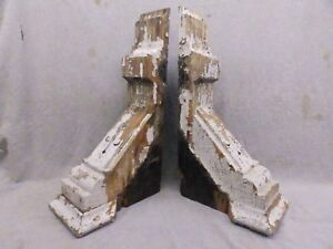 Antique Pair Wood Corbels Brackets Victorian Gingerbread Shabby Vtg Chic 139 17r