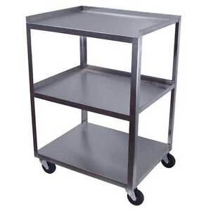 Ideal Products 3 Shelf Stainless Utility Cart Standard 16 D X 21 W X 30 H