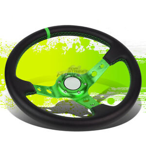 Universal Pvc Leather Aluminum 350mm 6 bolt Racing Steering Wheel Green Trim