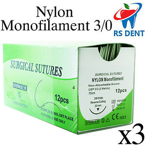 3 Dental Nylon Suture 3 0 For Medical Laboratory Teaching Student Practice 12pcs