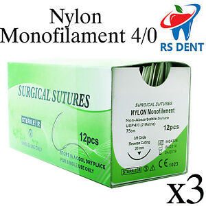 3 Dental Nylon Suture 4 0 For Medical Laboratory Teaching Student Practice 12pcs