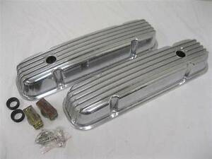 Pontiac Retro Finned Polished Aluminum Valve Covers 326 350 389 400 455 V8
