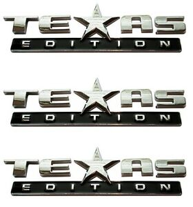Three Texas Edition Emblem Chevy Silverado Gmc Sierra Truck Universal Decal