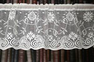 Vintage Princess Marie Cotton Lace Window Valance Shabby Chic Cottage Bris Bise