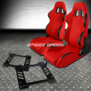 Reclinable Red Fabric black Trim Racing Seat bracket for 07 14 Jeep Wrangler Jk