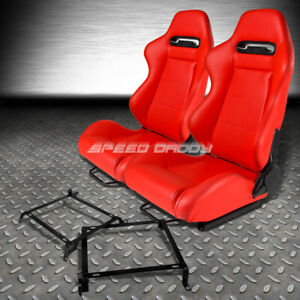 Type r Red Pvc Leather L r Racing Seats bracket For 88 91 Honda Crx Dx si Ee Ef