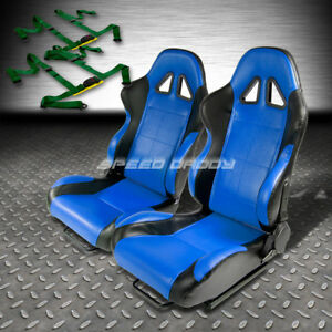 2 X Blue black Pvc Leather Racing Seats universal Slider 4pt Harness Green Belts