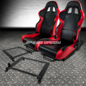 2 X Red Carbon Pvc Leather Racing Seats Low Mount Bracket For 01 05 Honda Civic