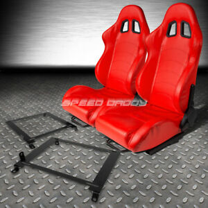 Red Pvc Leather Reclinable Racing Seats Low Mount Bracket For 01 05 Honda Civic