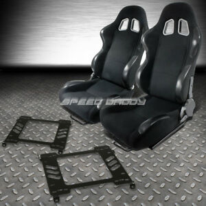 2x Woven Cloth Carbon Look Racing Seats Bracket For 94 01 Acura Integra Db Dc1 2