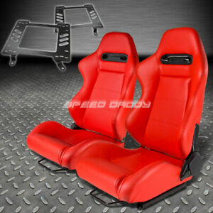 Pair Type R Red Pvc Reclining Racing Seat Bracket For 63 72 Chevelle Malibu