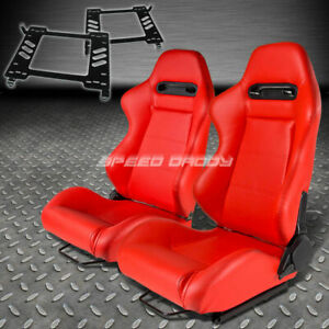 Pair Type R Red Pvc Reclining Racing Seat Bracket For 90 99 Toyota Mr2 Sw20