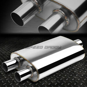 2 5 In 2 Dual Out Fully Polish Stainless Steel High Flow Muffler Exhaust