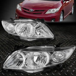 For 2009 2010 Toyota Corolla Pair Chrome Housing Clear Corner Headlight Lamp Set