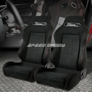 2 X Fully Reclinable Type R Black Suede Sports Racing Seat Seats Slider Rail Set