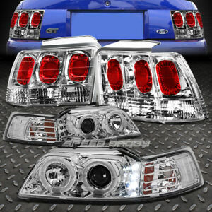 Chrome Dual Halo Projector drl Headlight altezza Tail Light For 99 04 Mustang gt