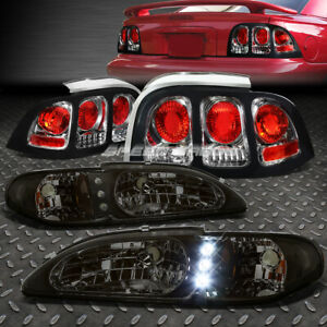 Smoked 1pc Headlight Led Drl Chrome Altezza Tail Light For 94 98 Ford Mustang Gt