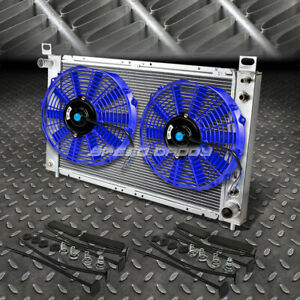 2 row Aluminum Radiator 1x 14 fan Blue For 99 07 Yukon sierra tahoe escalade V8
