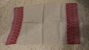 Antique Linen Cotton Damask Runner Red Floral Ends Cut Thread Work Crochet