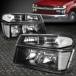 For 04 12 Colorado Canyon Black Housing Clear Corner Headlight Bumper Head Lamp