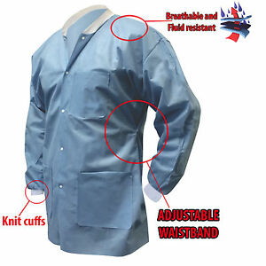10 50 Disposable Lab Coats With Adjustable Waist Knit Cuffs Choose Size