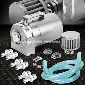 Cylinder Aluminum Engine Oil Catch Reservoir Breather Tank Can W Filter Silver
