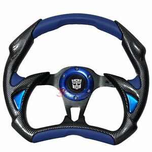 320mm Jdm Racing Sport Steering Wheel Black Carbon Blue Pvc Transformers Emblem