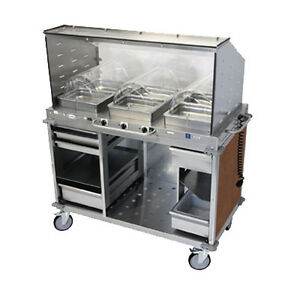 Cadco Cbc hhh sg l1 4 Electric Mobileserv Hot Food Buffet Cart 4 d Steam Pans