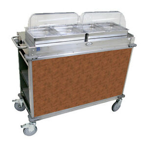 Cadco Cbc hh l1 Electric Mobileserv Hot Food Buffet Cart With 2 Buffet Servers