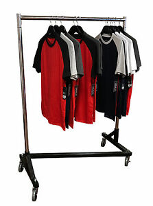 Small 41 Deluxe Adjustable Z Rack Garment Rack W Black Base Chrome Uprights