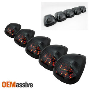 Fits Ford Superduty Pickup Smoked 5pcs Amber Led Roof Top Running Cab Lights Kit